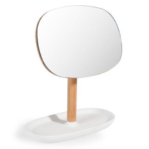 Espejo de bambú blanco Al. 19 cm MALMO