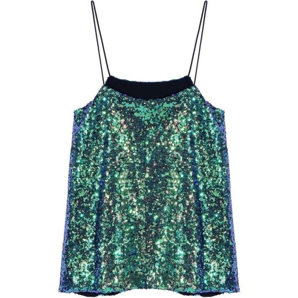 Yoins Sequin Cami Top ($16) ❤ liked on Polyvore featuring tops, tank tops, blablabla, green, camisoles & tank tops, sequin cami, green top, sequin tank, sequin top and green camisole