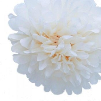 White 40cm Tissue Paper Pom Poms | The Party Cupboard