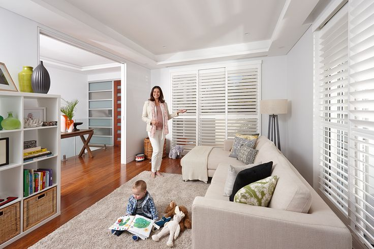 Luxaflex Newstyle Shutters with PolySatin finish brings elegance to any interior with the soft, matte lustre of a freshly painted finish. Because there are no dangling cords, Luxaflex Newstyle Polyresin Shutters are a safe window covering product for children. #nursery #childfriendly #luxaflex #polyresinshutters #luxaflexpolyresinshutters #childsafety