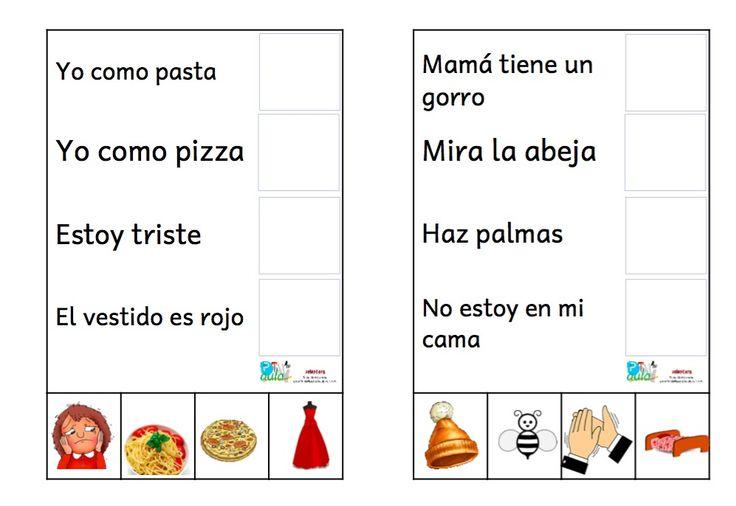 32 ACTIVIDADES DE COMPRENSIÓN DE FRASES MUY CORTAS INGLES Y ESPAÑOL