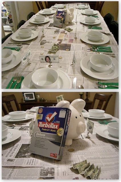 We loved this dinner party theme to celebrate April 15 tax day!
