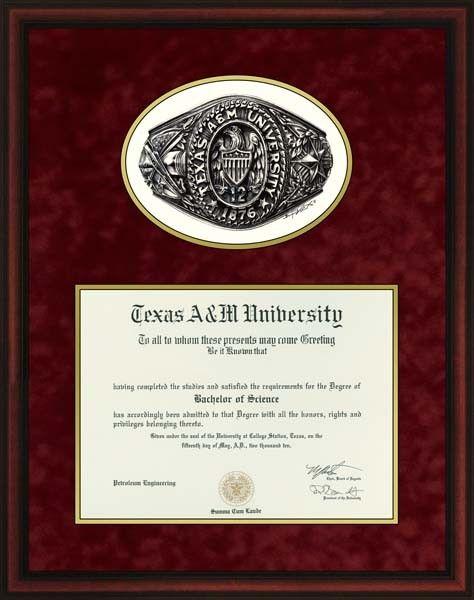 aggie ring top option 4 diploma frames texas am aggies collegiate - Diploma Frames Walmart