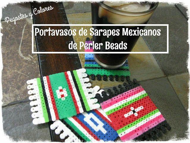 Pegostes y Colores: Portavasos de Sarapes Mexicanos de Perler Beads