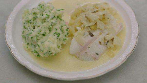 Eén - Dagelijkse kost - vis met bieslookpuree en romige venkel