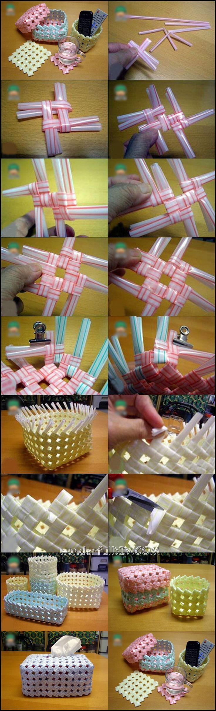 Wonderful DIY Creative Drinking Straw Basket | WonderfulDIY.com:
