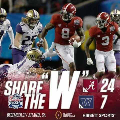 Win Alabama Football vs Washington Peach Bowl Alabama Football