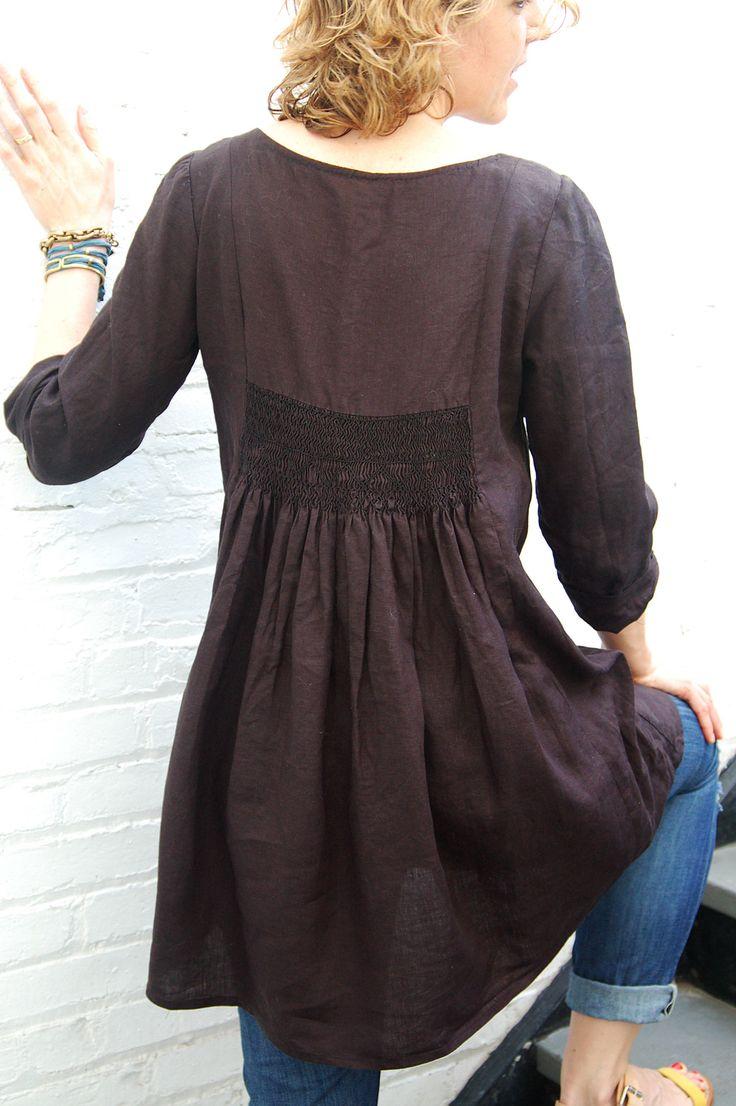 free tunic sewing patterns for women - Google Search (smocking detail)