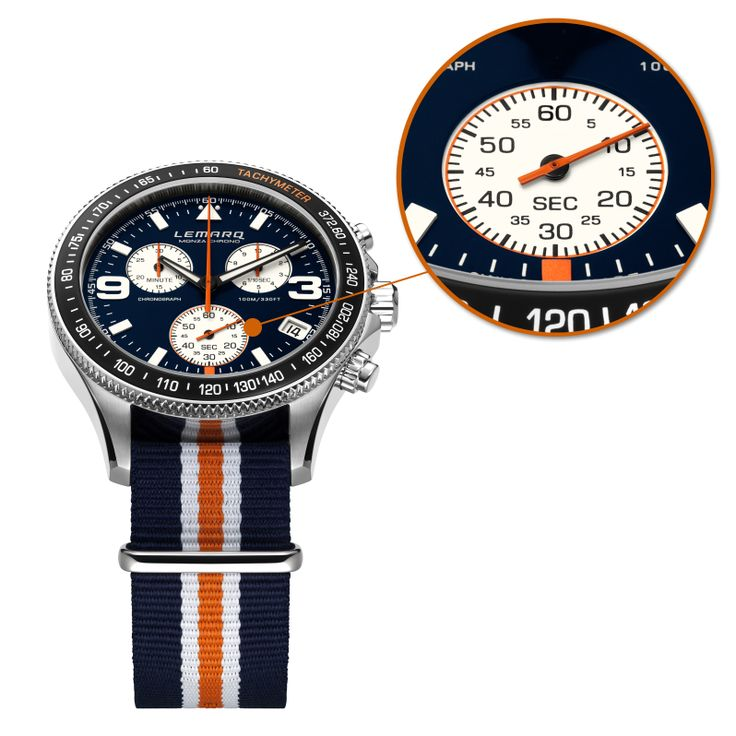 Discover the details on the Monza Chrono blue & white. A Father's Day gift you might like.  Order today, get it tomorrow (NED) @ http://www.lemarqwatches.com  #watch #chronograph #racing #tachymeter #swissmade