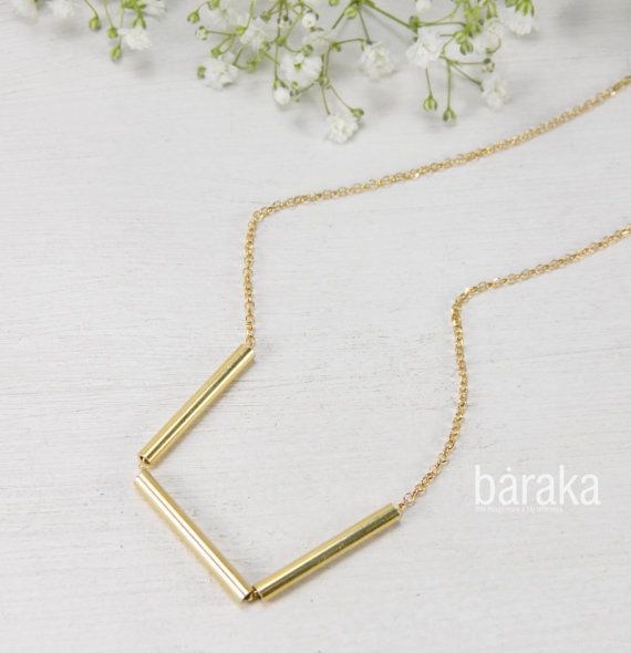 Gold tubes necklace bar necklace simple by BarakaCustomJewelry