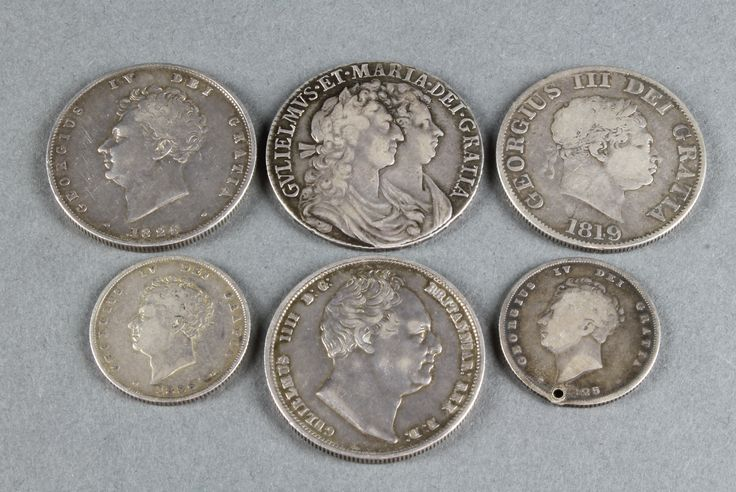 Lot 747, Early coins, a William and Mary half crown, a George III, George IV and William IV half crown, 2 George IV shillings, est  £50-100