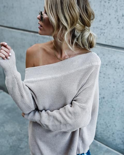 PREORDER - Chrissy Off The Shoulder Cotton Sweater – VICI