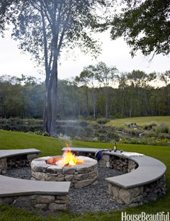 fire pit - love the color and shape of the stone. surely i could get my dad to make me something like this :)
