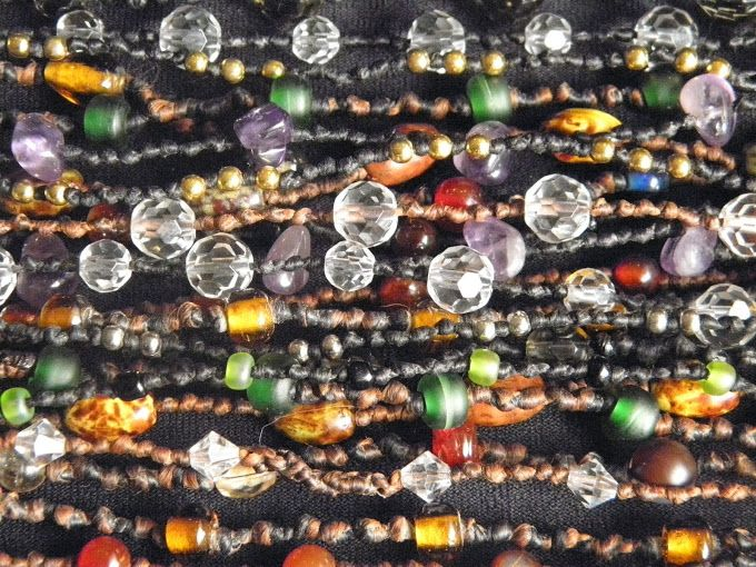 crystal and coloured glass beads knotted wax cotton necklaces