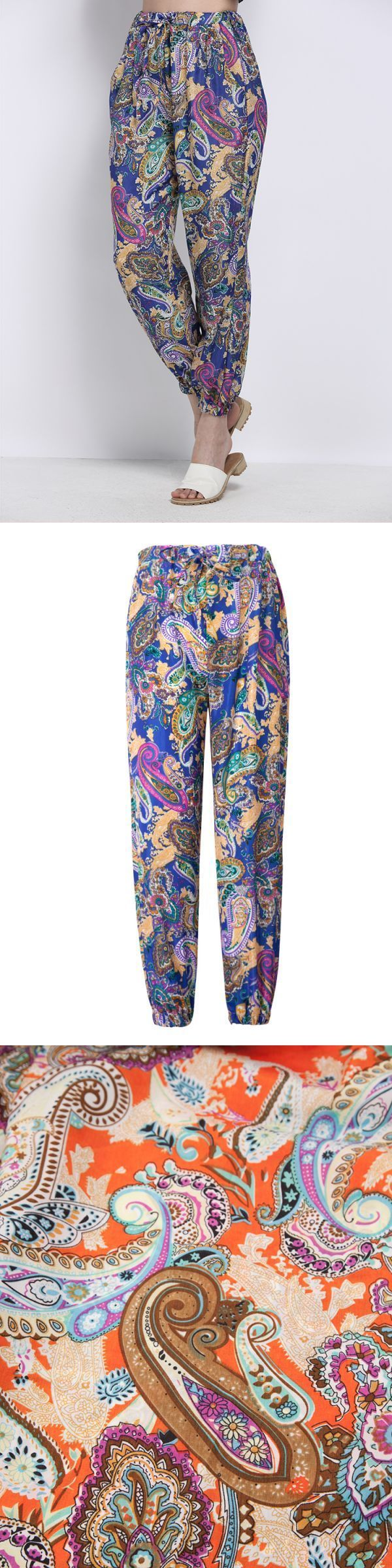 Bohemian women pattern printing elastic waist drawstring chiffon harem pants trousers pants mens #pants #trousers #british #pants #trousers #diferencia #trousers #and #pants #down #trousers #baggy #jogging #harem #pants