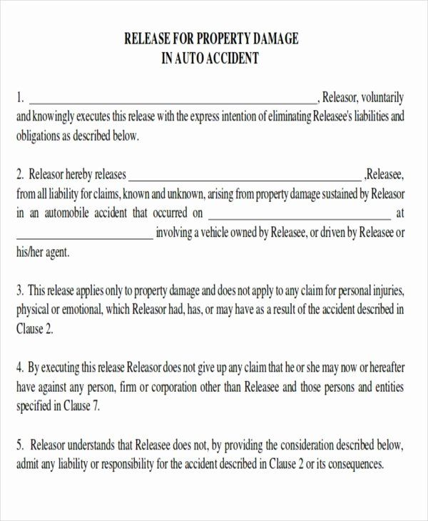 Personal Property Release Form Template Inspirational Property