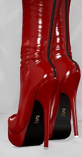 cool coole, red over the knee boots                                                  ...