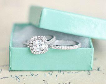 Nozze anello Set - cuscino taglia l'anello di fidanzamento anello - anello in argento Sterling Ring - anello di fidanzamento - Cubic Zirconia - Halo