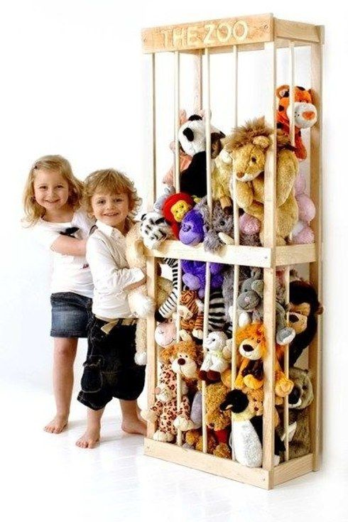 """49 Clever Storage Solutions For Living With Kids-the """"zoo"""" could hold the stuffed animals when we lose the giant toy box!"""