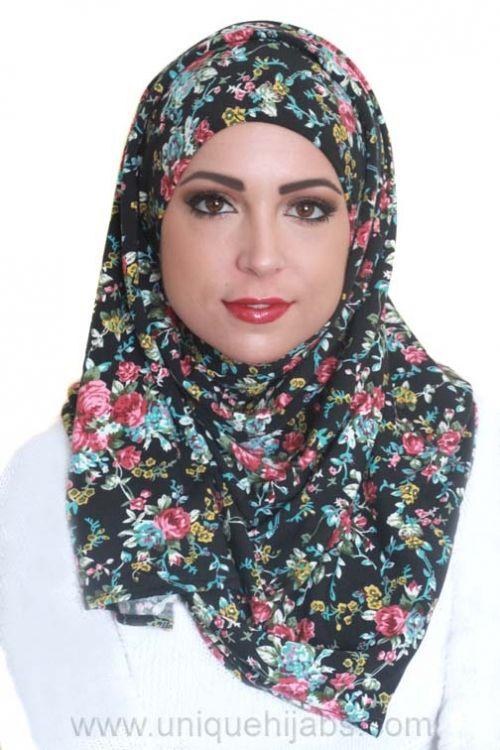 Jersey Hijab Floral-Black