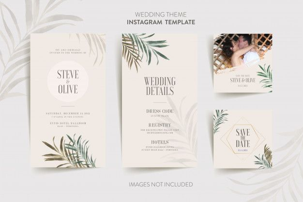 Instagram Template For Wedding Invitation Card With Tropical Flower And Leaves Wedding Invitation Cards Watercolor Floral Wedding Invitations Flower Wedding Invitation