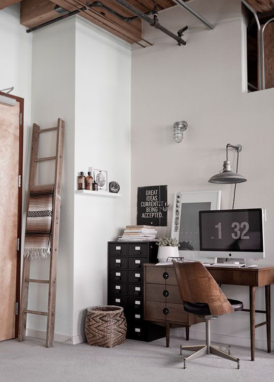 rustic/industrial officeStudios, Offices Spaces, Interiors, Work Spaces, Workspaces, Desks, Design, Industrial Office, Home Offices