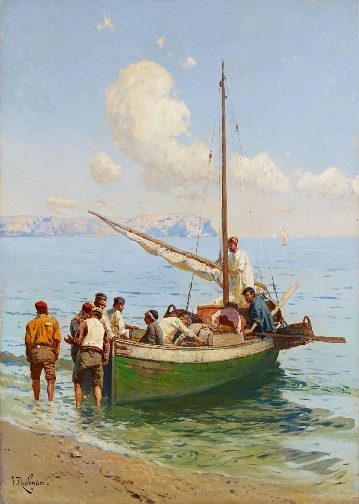 Franz Alekseyevich Roubaud, FISHERMEN ON THE BLACK SEA, Auction 1017 Paintings and Drawings 15th - 19th Centuries, Lot 115