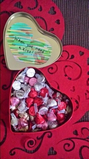 Valentines Day Gift For Him Hershey S Kisses In A Tin Box A Message