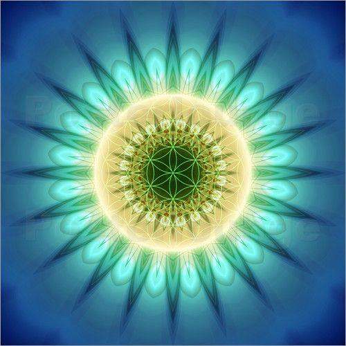 Sommer-Special! Bis zu 20 % Rabatt auf alle Leinwandbilder – Angebot gültig bis 31.07.2016.   Christine Bässler - Mandala  blaues Licht mit Blume des Lebens