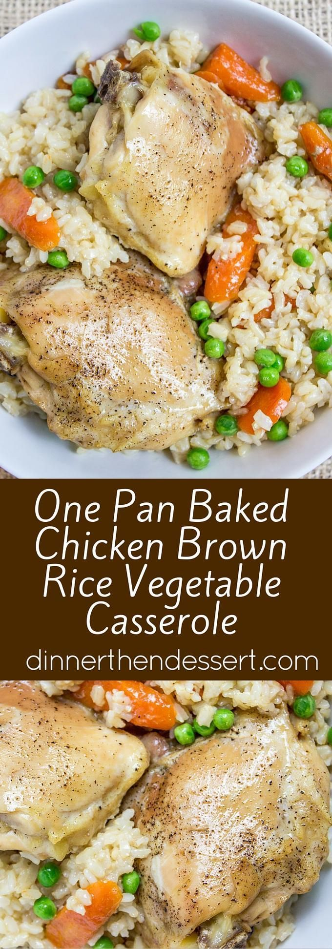 One Pan Baked Chicken Brown Rice Vegetable Casserole, served with Carrots and Peas, is healthy, flavorful and involves almost no clean-up!