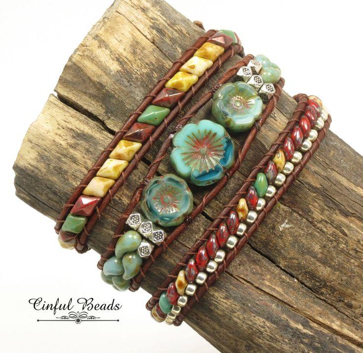 BOHO LEATHER WRAP-Southwestern Jewelry-Hawaiian Flower-Beaded Leather Wrap-Triple Leather Wrap-Boho Wrap-Wrap Bracelet-Leather Cuff-(TW32B) by CinfulBeadCreations on Etsy