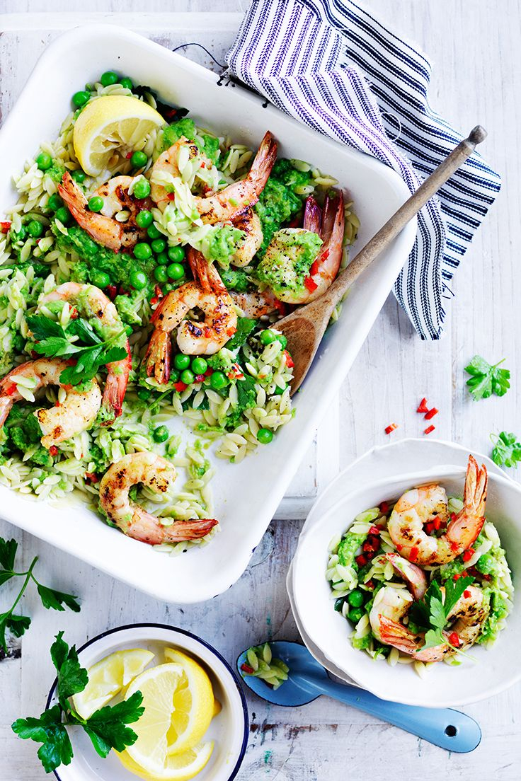 Serve our quick garlic prawns with mushy peas and risoni for a light meal that's perfect for summer. Find more recipes like this in The Australian Women's Weekly's 'Fast Favourite Dinners' cookbook.