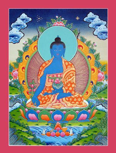 Boeddha Thangka Painting - Himalaya - eind 20e eeuw  Geneeskunde Boeddha Tibetaanse Thangka schilderij geschilderd op linnen doek met behulp van grond mineralen pigmenten in levendige kleuren met inbegrip van glanzende gouden Toon vloeistoffen. Het meet ongeveer 56 x 43 cm. Het heeft uitstekende micro details je kan boven foto's controleren en vergelijken met zowel schilderijen. Het is echt fijn stuk van handgeschilderde kunst.Versnellen verzendkosten inbegrepen in de verzendkosten. Het…