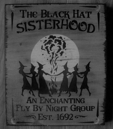 Black hat society witchcraft witches Primitive witch signs Black hat Sisterhood halloween sign Primitives Wicca Pagan OOAK paintings folk art original by SleepyHollowPrims, $24.30 USD