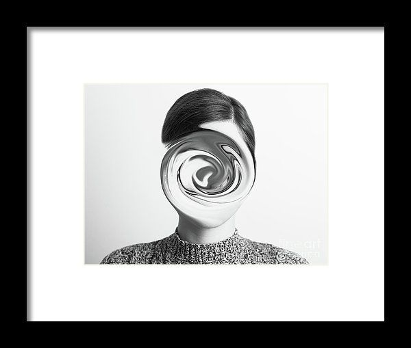 Black And White Abstract Woman Portrait Of Confusion Concept Framed Print