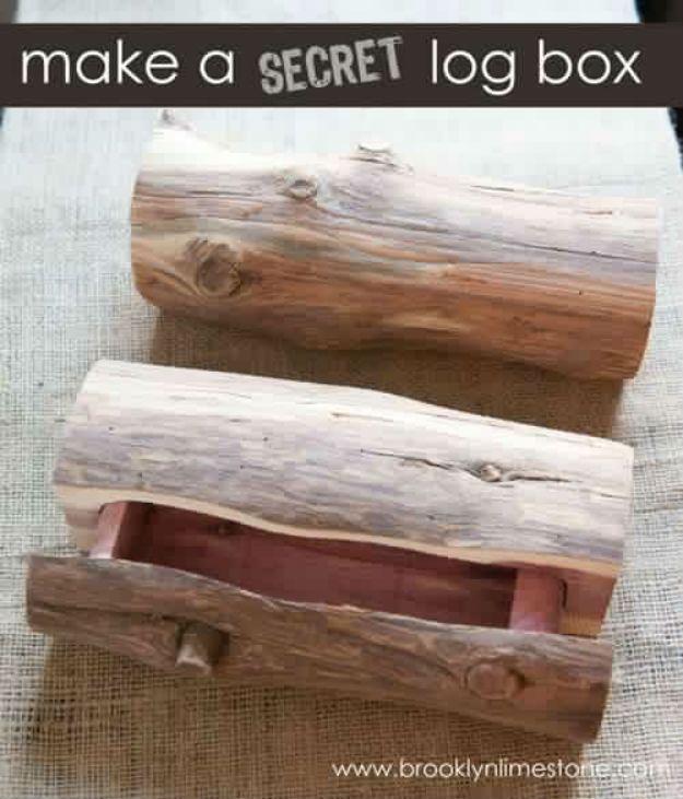 Organizing DIY! Secret Log Box | http://diyready.com/15-diy-wood-burning-projects-wood-burning-art/