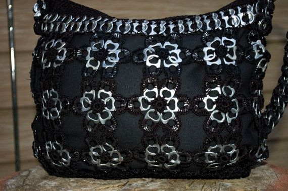 Upcycled Black Flower Crochet Pop Tab Purse