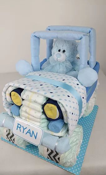 Nappy Cakes by Emma, Baby Boy Nappy Jeep, Nappy Cake, Jeep, Blue, White, Car, Newborn Gift, Napp Cake, Diaper Cake