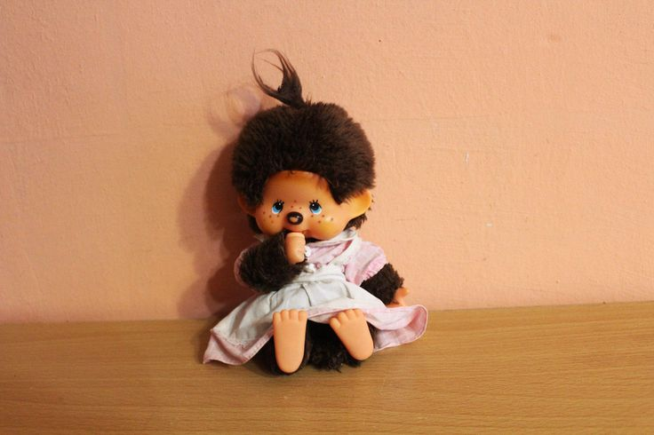 Vintage Monchhichi Girl 1974 Pink Dress Sekiguchi Monkey Doll Plush Soft Japan Japanese by Grandchildattic on Etsy
