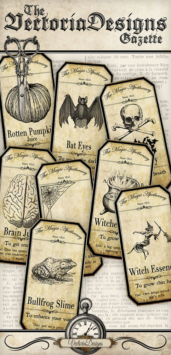 Halloween Apothecary Bottle Jar Labels Tags by VectoriaDesigns