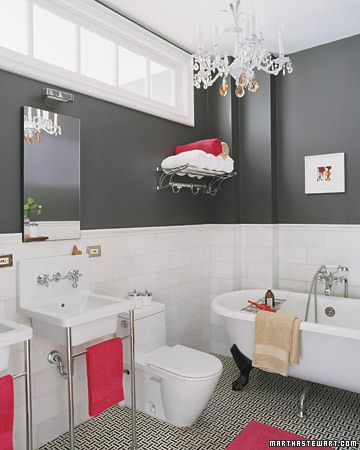 grey and white with a pop of color. i'd do purple or mint... great for a girls bath!!