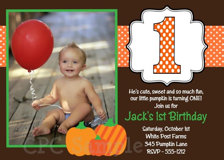 Pumpkin Birthday Invitation Boys Girls Printable Fall Pumpkin 1st Birthday Party Invites. $15.00, via Etsy.