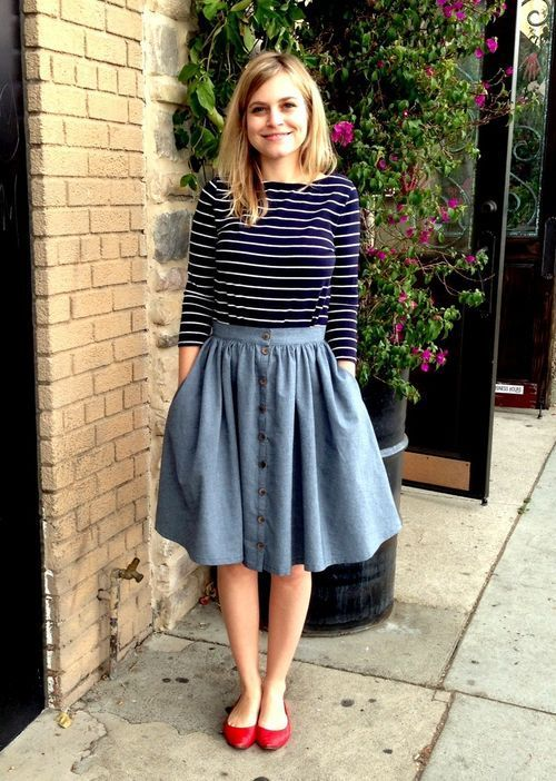 "Love the how the colored shoes ""pop"" so perfectly. :)  (Lengthen the skirt past the knees probably.) #Modesty doesn't mean frumpy. #DressingWithDignity. www.ColleenHammond.com"