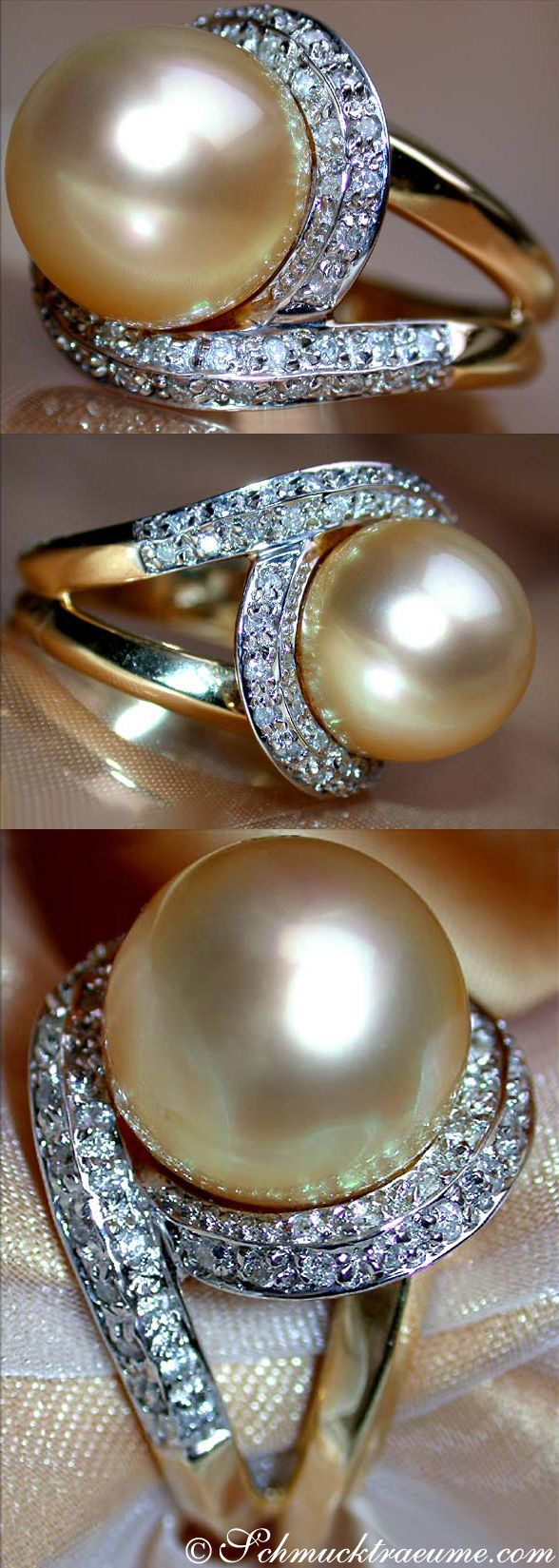 Fabulous Golden Southsea Pearl Diamond Ring, Yg18k  Visit:  Schmucktraeume  Like