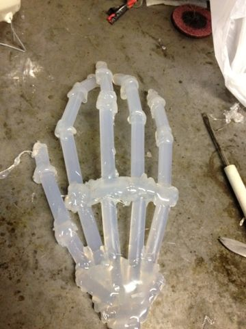 Scary on QtKnee: Hot glue stick skeleton hand