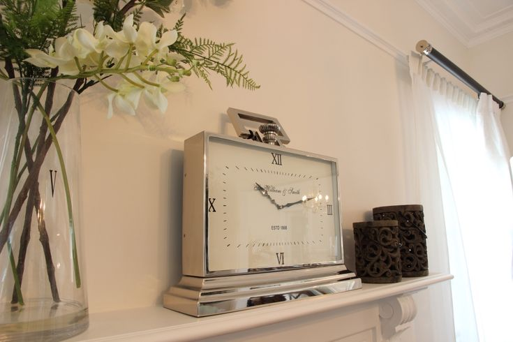 A statement clock on the mantle