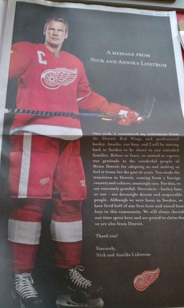 nicklas lidstrom took out a full page thank you ad in the detroit free press