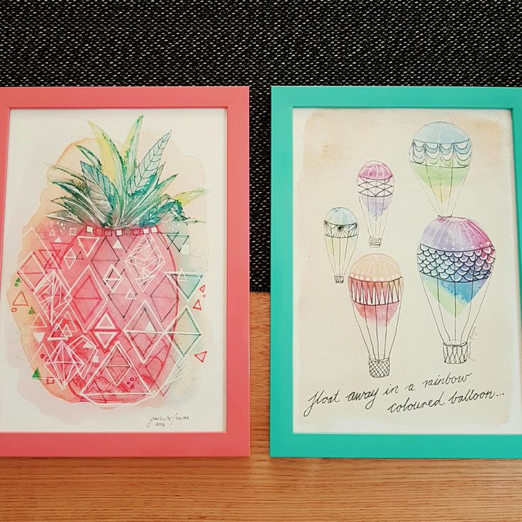 """""""Pineapple Pop"""" and """"Rainbow Balloons"""" in colourful frames really brighten up the space! These two are headed for our stockist SourPussEmporium in Camberwell, Melbourne.  Both these prints have been really popular for kids rooms and nurseries. 😙 💖💚"""