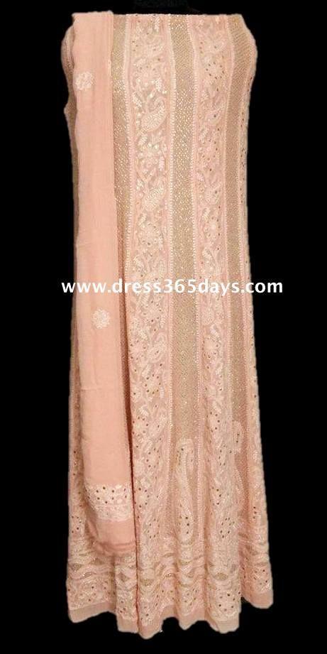 Peach Colour Kamdani / Mukaish work the Latest Chikankari Anarkali . BEST DRESS FOR THE WEEK