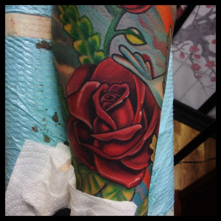 Red Rose Tattoo - Tylor Schwarz http://tattoosflower.com/red-rose-tattoo-tylor-schwarz/